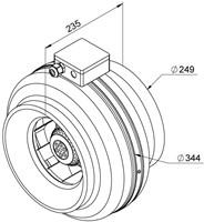 Ruck Rohrventilator 890m³/h - Ø 250 mm - RS 250-2