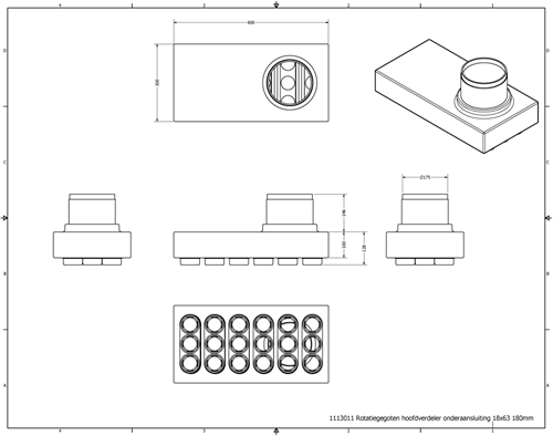 Uniflex Plus Haubtverteilbox Unteranschluss 18x Ø 63 mm mit Tülle Ø 180 mm-2