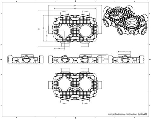 Uniflex Plus Haubtverteilbox 6x Ø 90 mm mit Tülle Ø 180 mm-2