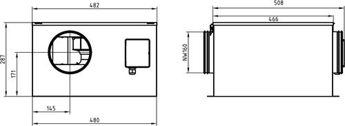 Ruck isolierter Abluftbox 640m³/h - Ø 160 mm - ISOR 160 E2 11-2