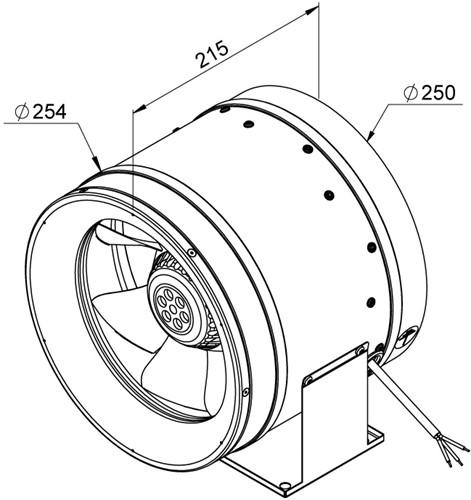Ruck Etaline E Rohrventilator 1625m³/h - Ø 250 mm - EL 250 E2 06-2