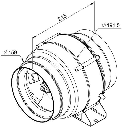 Ruck Etaline M Rohrventilator 470m³/h - Ø 160 mm - EL 160 E2M 01-2