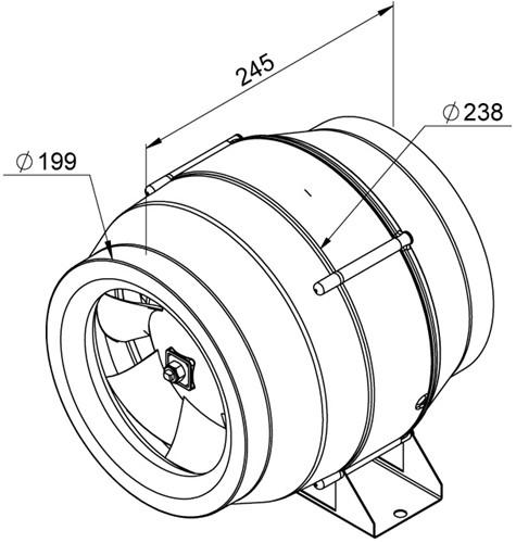 Ruck Etaline M Rohrventilator 900m³/h - Ø 200 mm - EL 200L E2M 01-2