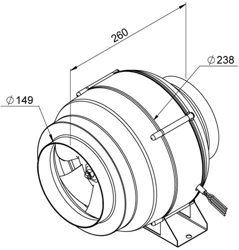 Ruck Etaline M Rohrventilator 780m³/h - Ø 150 mm - EL 150L E2M 01-2
