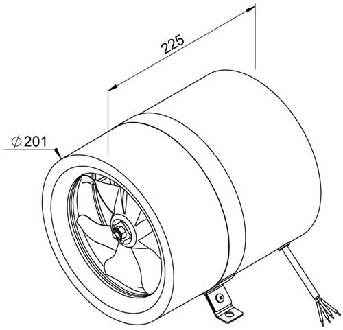 Ruck Etaline M Rohrventilator 910m³/h - Ø 200 mm - EL 200 E2M 01-2