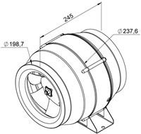 Ruck Etaline Rohrventilator mit EC Motor 1070m³/h - Ø 200 mm - EL 200L EC 01-2