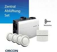 Zentralablüftungsset Netzstecker - Orcon MVS 15RHB 520m3/h + Feuchtigkeitssensor + RFT Bedienung + 4 Lüftungsventile