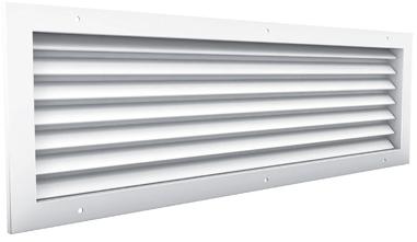 Durchlassgitter mit Sichtschutz, 500x500 Aluminium, mit Klemmfedern