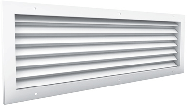 Durchlassgitter mit Sichtschutz, 600x300 Aluminium, mit Klemmfedern