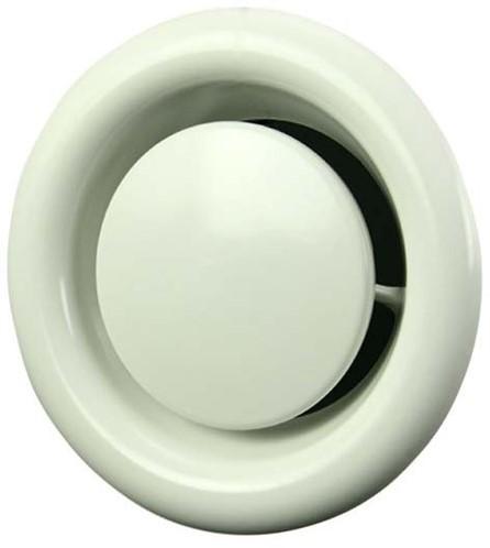 Tellerventil Metall Ø 125 mm Weiß mit Montagering (DVS125)