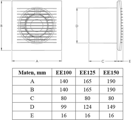 Maatvoering badkamerventilator Europlast E Extra
