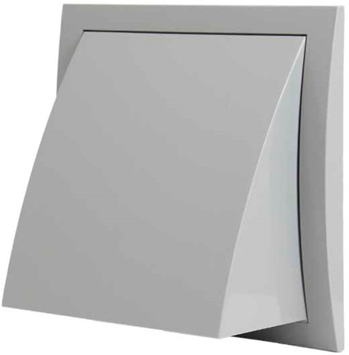 Fassadengitter Kunststoff mit Rückschlagventil 190x190 mm durchmesser 125 mm grau - ND12FVP