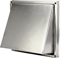 Edelstahl-Fassadengitter Ø 125 mm mit schräger Haube und Rückschlagventil (hoher Durchlass)-D5G125