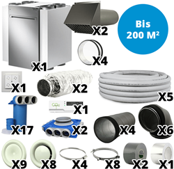 Wohnraumlüftungs-Set Vasco 400 m³/h bis 200 m²