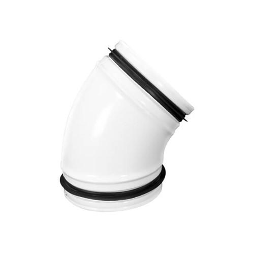 45° Bogen weiß Durchmesser 125 mm Metall - RAL 9010