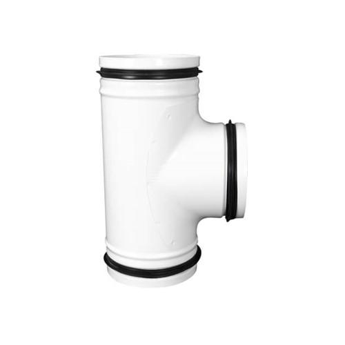 T-Stück 90° weiß Durchmesser 125 mm Metall - RAL 9010