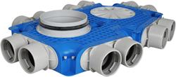 Uniflexplus Verteiler mit Seitenanschluss 12x Ø 75 mm mit Tülle  Ø180 mm