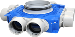 Uniflexplus Verteiler mit Seitenanschluss 8x Ø 75 mm mit Tülle  Ø180 mm