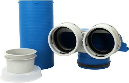 Uniflexplus Ventilkollektor 2x Ø 90 mm mit Schiebehülse 250 mm und Deckel Ø 125mm