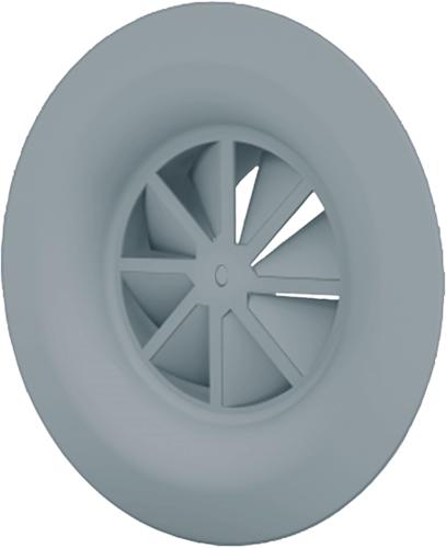Dralldurchlass mit Diffusorring mit zentrale Schraubbefestigung 160 mm mit Übergangsstück für oberanschluss 125 mm - Mischfarbe RAL 7001