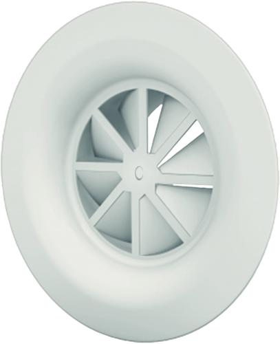Dralldurchlass mit Diffusorring mit zentrale Schraubbefestigung 160 mm mit Seitenanschluss nicht isolierter Anschlusskasten 125 mm - Mischfarbe RAL 9003
