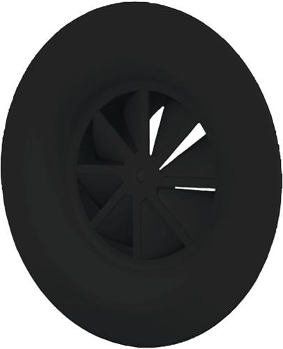 Dralldurchlass mit Diffusorring mit zentrale Schraubbefestigung 250 mm mit Übergangsstück für oberanschluss 200 mm - Mischfarbe RAL 9005