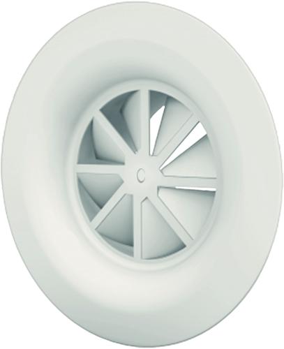Dralldurchlass mit Diffusorring mit zentrale Schraubbefestigung 200 mm mit Seitenanschluss nicht isolierter Anschlusskasten 160 mm - Mischfarbe RAL 9010
