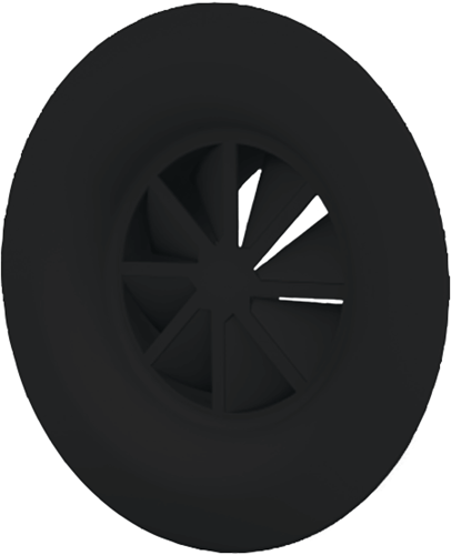 Dralldurchlass mit Diffusorring 160 mm mit Übergangsstück für oberanschluss 125 mm - Mischfarbe RAL 9005