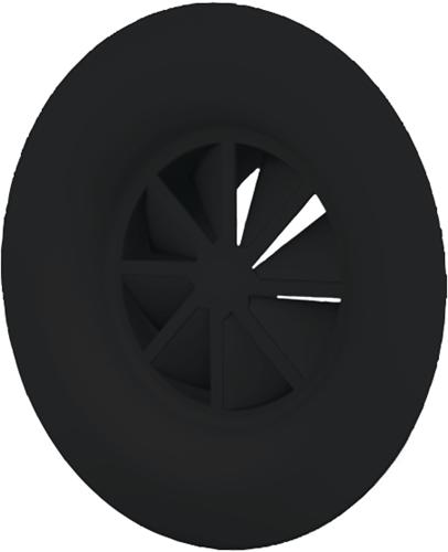 Dralldurchlass mit Diffusorring 250 mm mit Übergangsstück für oberanschluss 200 mm - Mischfarbe RAL 9005