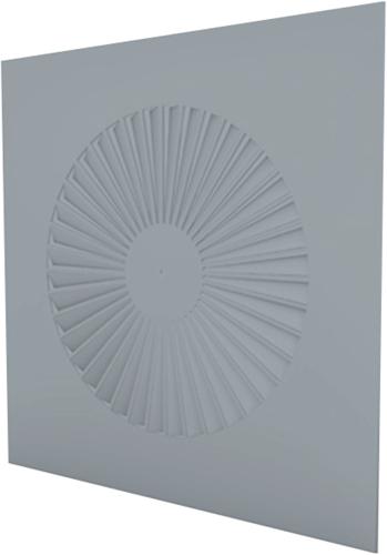 Dralldurchlass quadratisch 600x600 feste Lamellen 250 mm und Anschlusskasten mit oberem Anschluss 125 mm - Mischfarbe RAL 7001