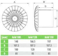 Badlüfter Ø100mm mit Feuchtigkeitssensor und Timer Weiß rund - 100BBHS-2