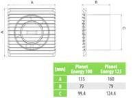 Badlüfter Ø125mm energieeffizient und still mit Feuchtigkeitssensor und Timer Weiß 125HS-3