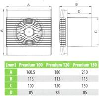 Badlüfter Ø120mm mit Feuchtigkeitssensor und Timer Weiß - pRemium120HS-2