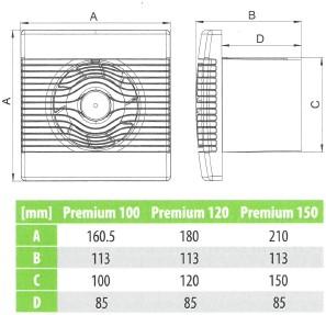 Badlüfter Ø120mm mit Timer Weiß - pRemium120TS-2
