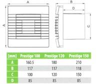 Badlüfter Ø150mm Weiß mit Automatischer Klappe und Timer - Prestige 150ZGTS-2