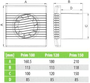 Badlüfter Ø120mm Weiß mit Feuchtigkeitssensor und Timer - pRim120HS-2