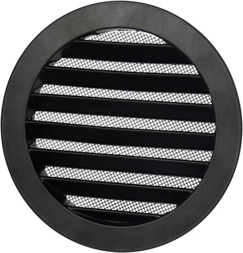 Aluminium Außenluft Mauer/Wand-gitter rund-Ø 200mm-schwarz