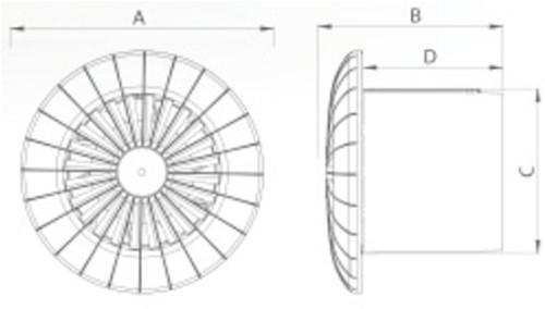 Badlüfter Ø120mm mit Feuchtigkeitssensor und Timer Weiß rund - 120BBHS-2