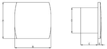 Badlüfter 150 mm Weiß mit Timer und Feuchtigkeitssensor - Design T150HT-2