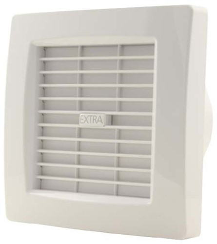 Badlüfter 120 mm Weiß mit Automatische Rückstauklappe, Timer und Feuchtigkeitssensor - Luxus X120ZHT