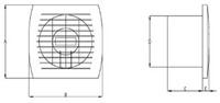 Badlüfter 120 mm Weiß mit Timer und Feuchtigkeitssensor - Standard E120HT-2