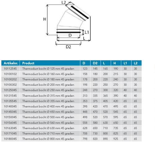 Thermoduct Bogen 45 Grad isoliert - Ø 160 mm-2