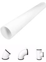 Rohre und Fittings weiß lackiertes Metall