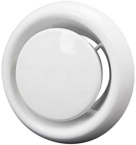 Tellerventil abluft Kunststoff Ø 125 mm weiß mit Federklammern (DVLF125)