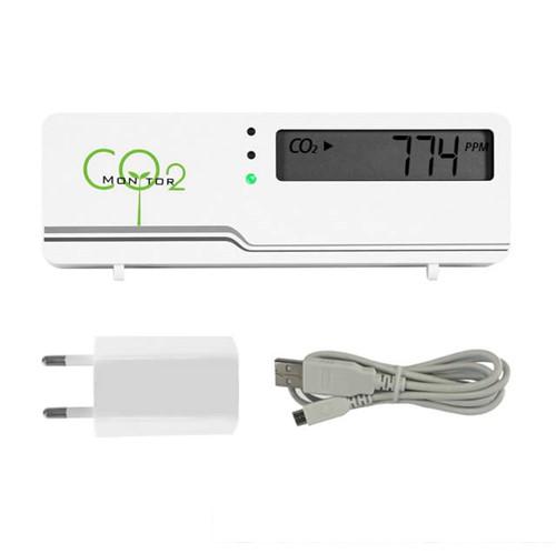 CO2 Messgerät Air Indicator Compact mit Temperaturanzeige und Stromadapter