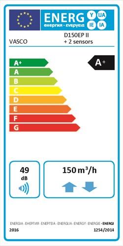 Energielabel Vasco D150EP II 2 Sensors
