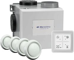 Itho Daalderop CVE-S eco fan HE 415m3/h Zentralablüftungsset + Feuchtigkeitssensor + RFT Schalter + 4 Ventiele