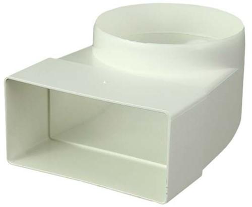 Bogen 90° Flachkanal nach Rohr Ø100mm Kunststoff Vertikal KLD