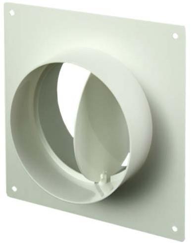 Wandplatte mit Rückschlagklappe Kunststoff Ø 100 mm AFV100