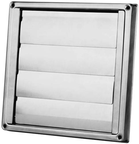 Edelstahl Fassadengitter Ø 125 mm mit beweglichen Lamellen (hoher Durchlass)-D5125125